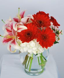 Red Hot Roses Hydrangea & lillies - Al's Florist