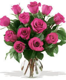 One dozen of the finest Ecuadorian roses carefully hand selected and arranged in its natural beauty. Glass vase included.