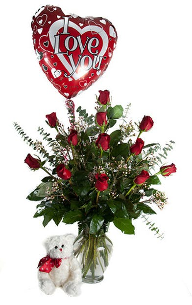 Teddy Bear, Balloon, One Dozen Red Roses - Al's Florist
