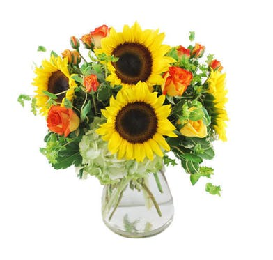 Sunflowers, hydrangea and roses in a clear glass vase.