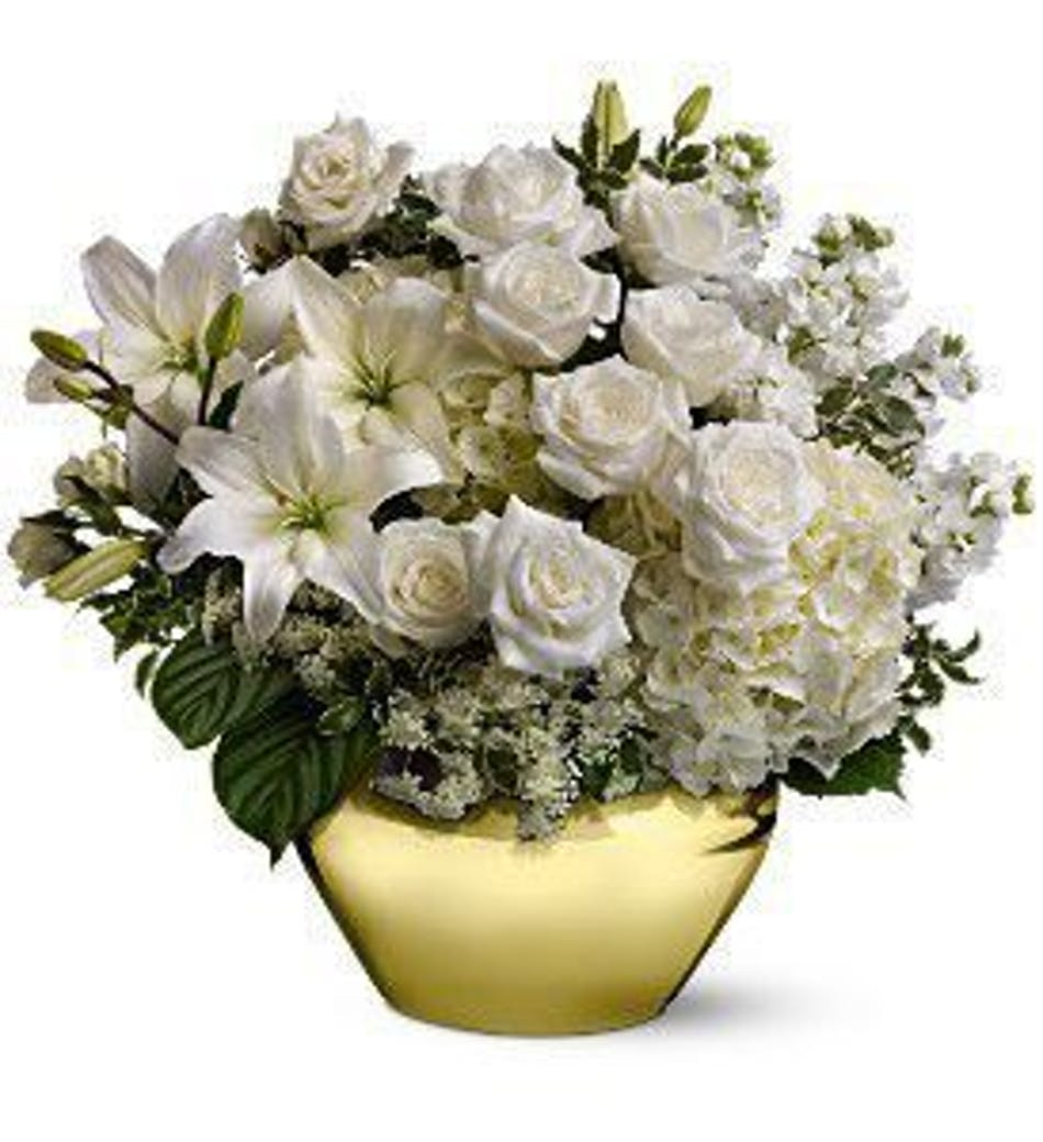 Glorious blooms for winter als florist just as pretty as taking a walk in the snowy woods this beauty is full of white roses and creamy lilies with just a touch of green here and there to mightylinksfo