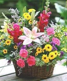Basket of assorted wildflowers.