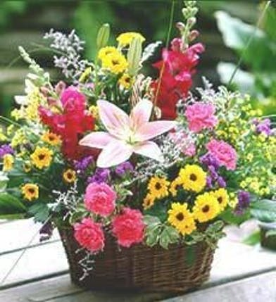 Basket of assorted wildflowers.
