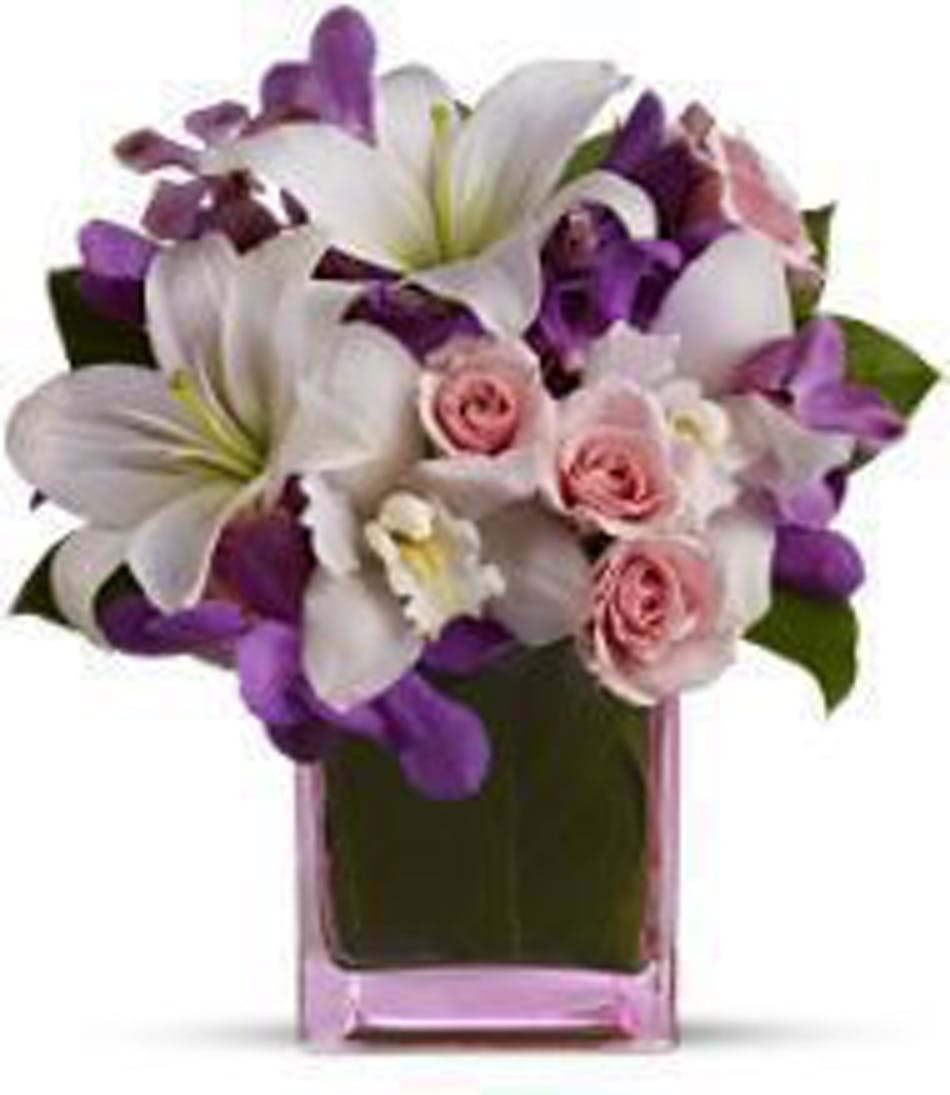 Hollywood fl same day flower delivery at last als florist roses orchids and asiatic lilies in shades of white pale pink and purple in izmirmasajfo