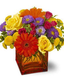 Yellow, orange, purple and hot pink flowers in an orange glass cube vase.