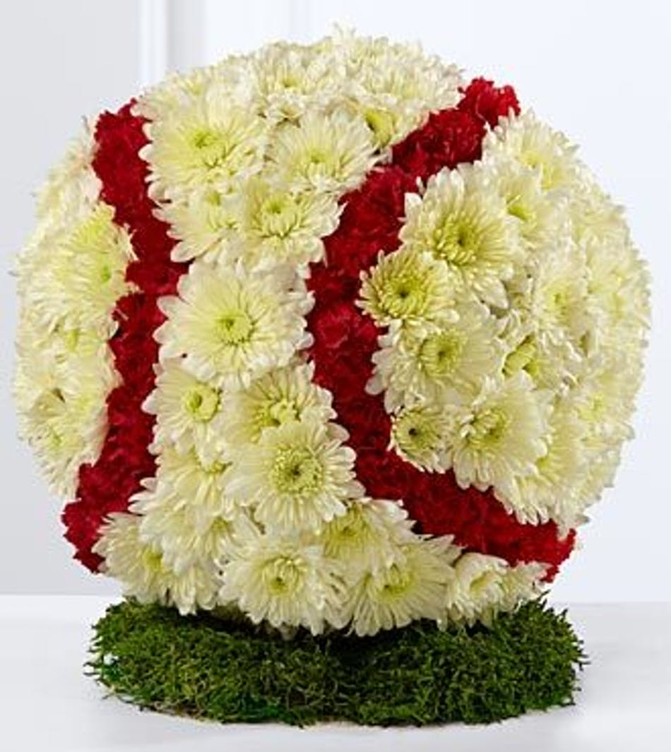 Sympathy funeral flowers for delivery als florist hollywood fl baseball made of flowers for a sympathy tribute izmirmasajfo