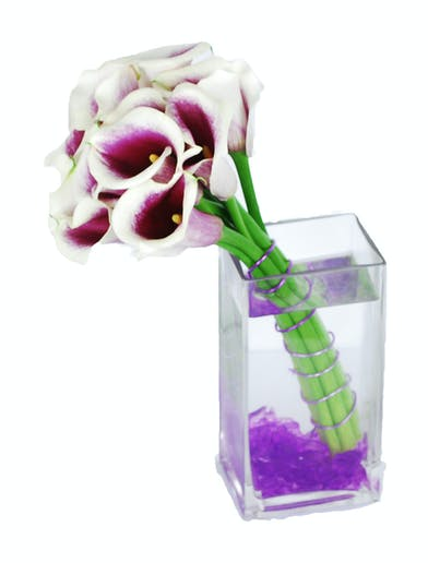 Picasso calla lilies in purple and white in a glass cube vase.