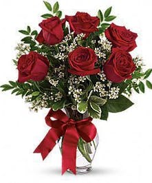 Six red roses and baby's breath arranged in a clear glass vase.