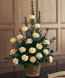 Basket arrangement of white carnations suitable for a funeral service.