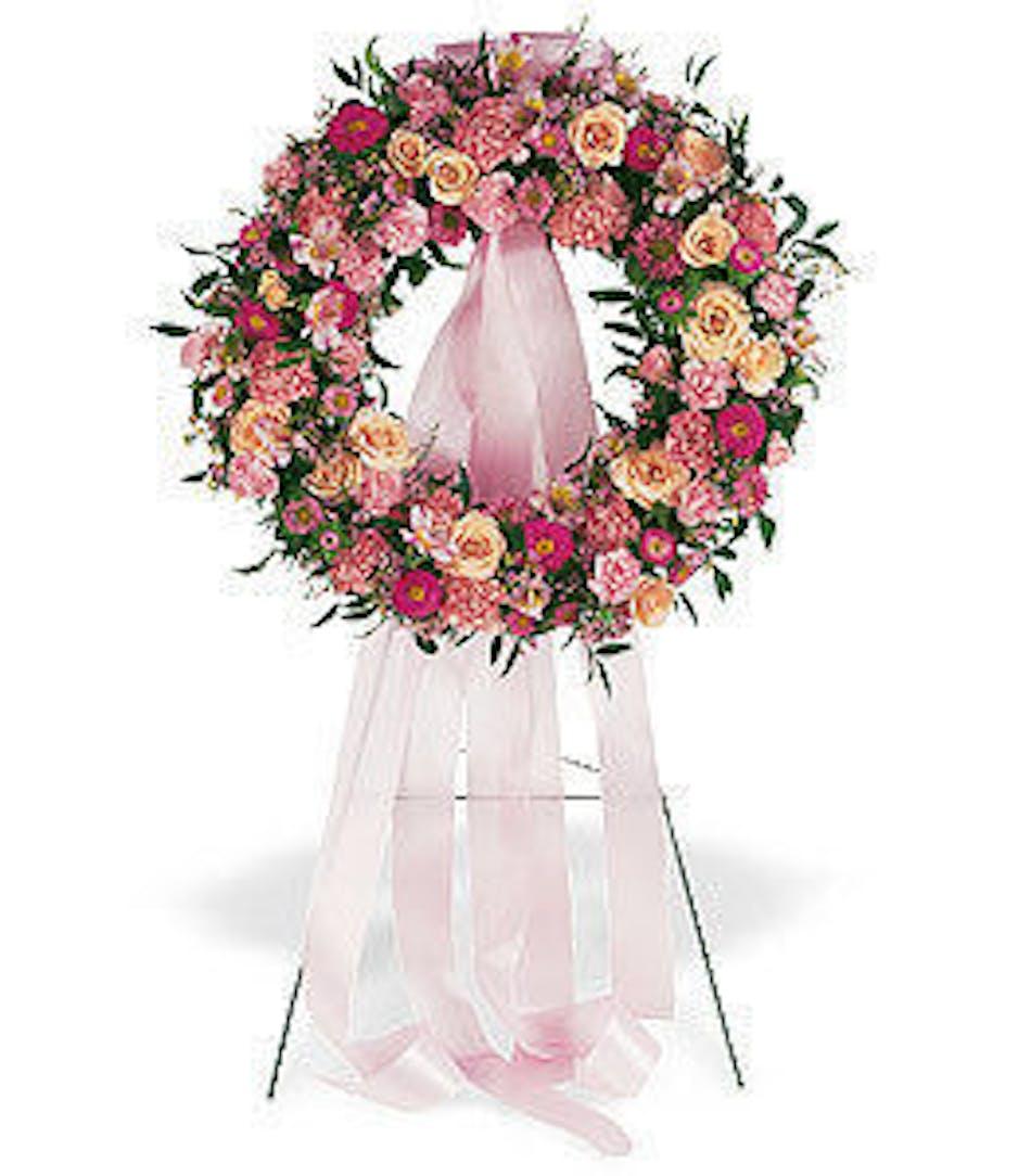 Respectful Pink Funeral Flower Wreath Als Florist Hollywood