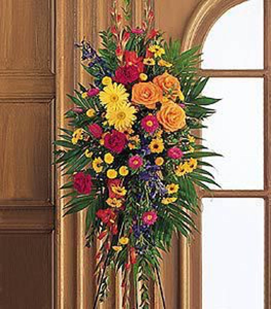 Celebration of life standing spray hollywood funeral flower delivery funeral flower standing easel spray with red orange and yellow flowers izmirmasajfo