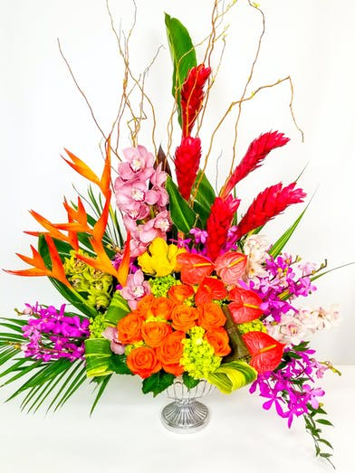 Bright tropical flowers in a stunning array.