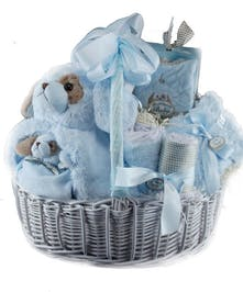 A bountiful basket full of baby boy items