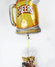 Gourmet Mens, Beer Gift Baskets - Beer Shaped Balloon Attached