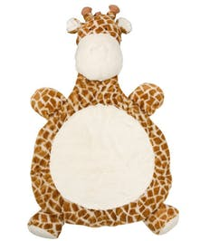 Baby mat in the shape of a giraffe.