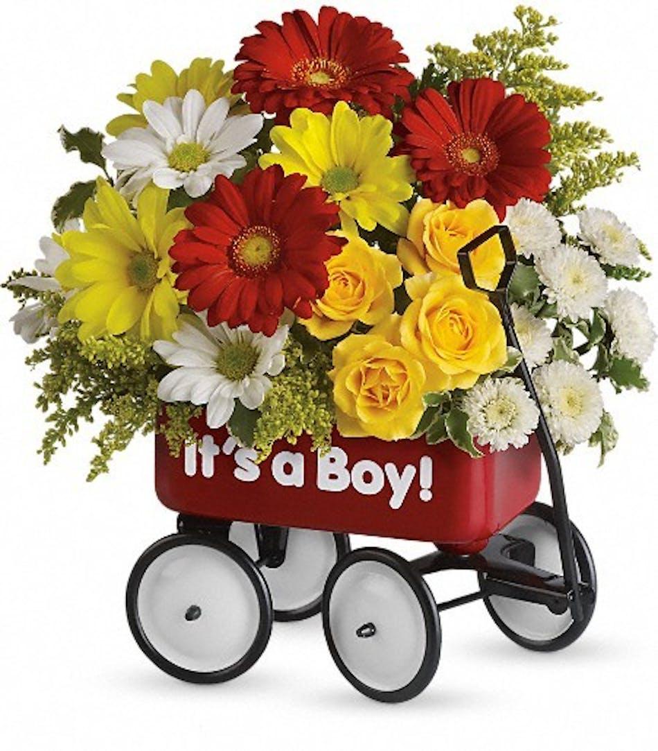 Baby Boy Floral Wagon - Same-day Delivery Al\'s Florist