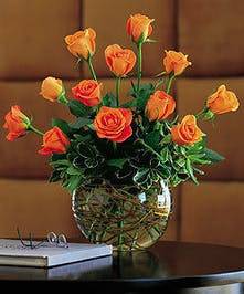 One dozen orange roses in a vase.