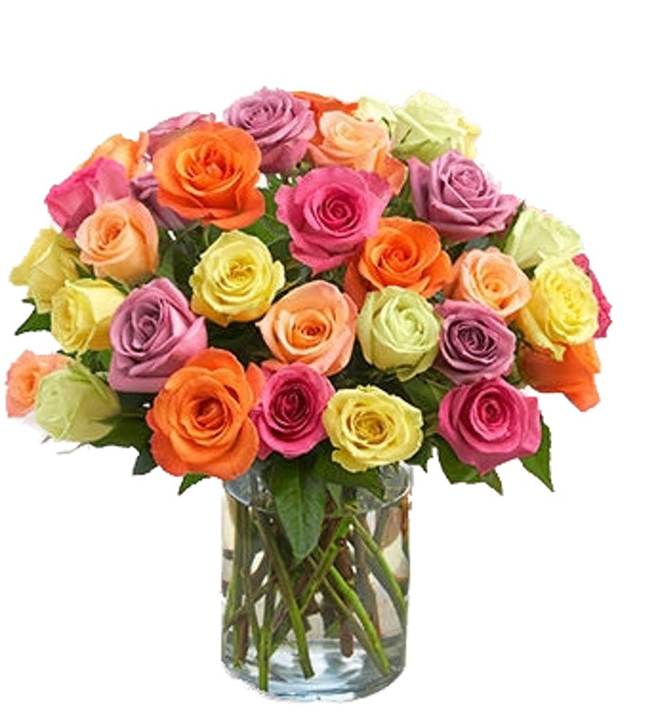 Long stemmed multi colored roses in a clear glass vase.