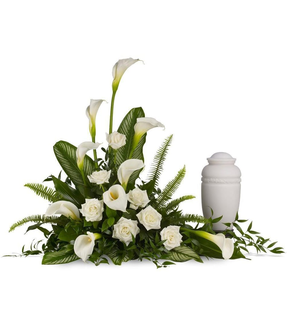 Calla lily sympathy floral bouquet delivery als florist large white calla lilies pair with white roses and lush greens that include soft airy izmirmasajfo