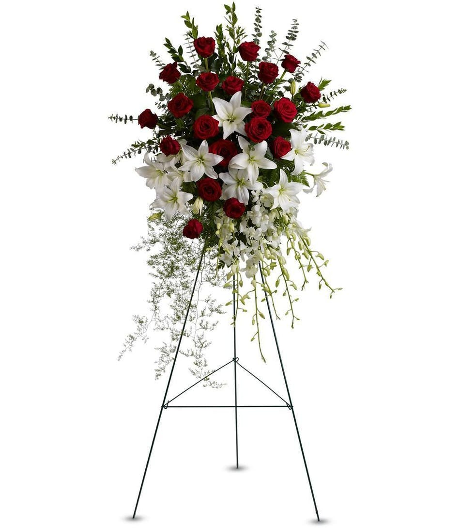 Hollywood fl funeral flowers lily rose tribute spray als florist white lily and red rose funeral standing easel spray izmirmasajfo Images