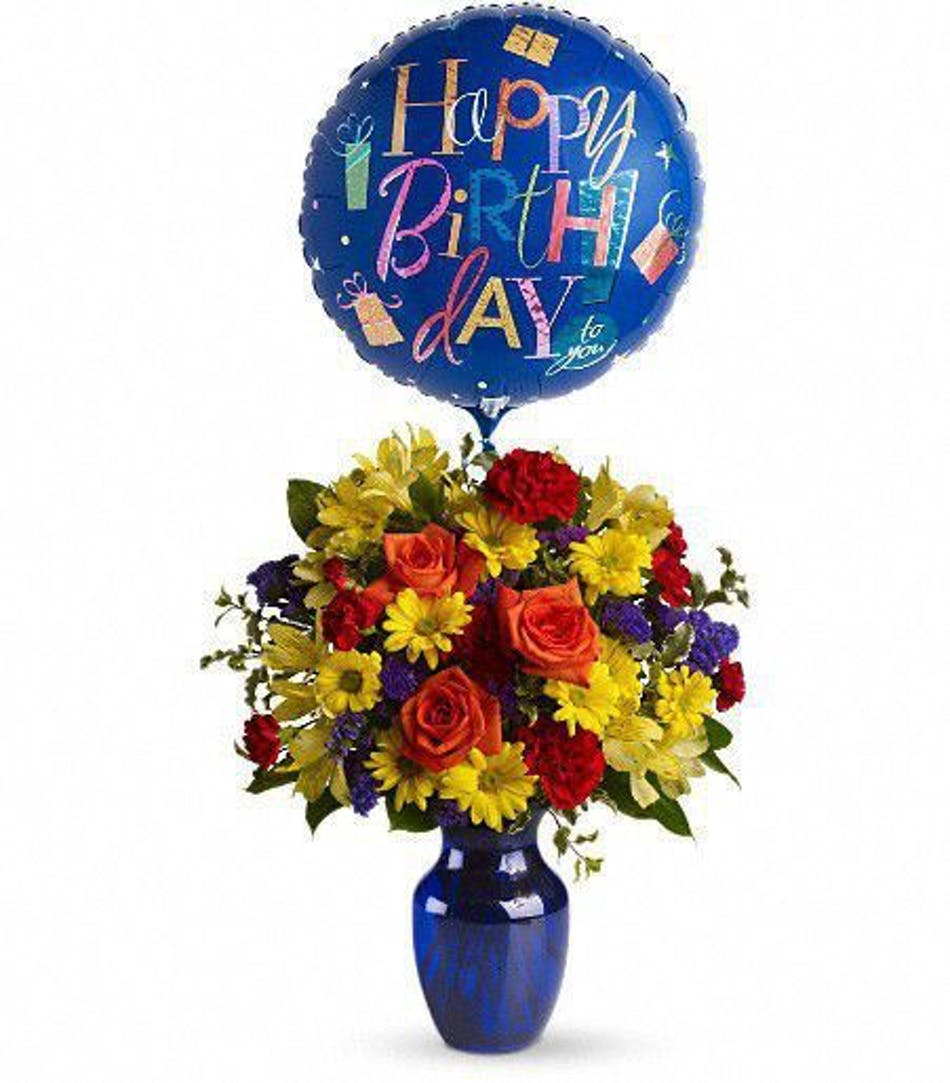 Birthday flowers balloon bouquet hollywood davie weston florist colorful birthday bouquet of flowers inside a blue vase with a happy birthday balloon izmirmasajfo