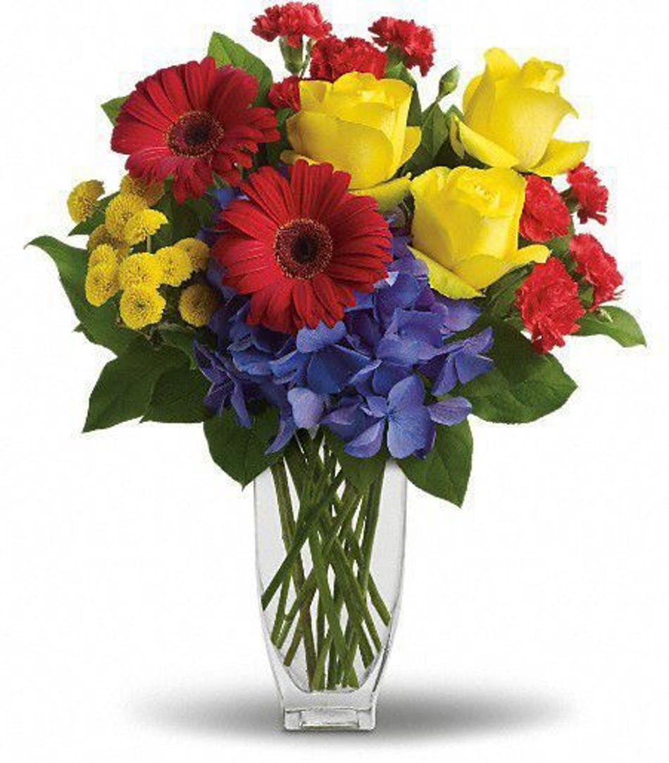 Heres to you als florist hollywood fl red yellow and blue flowers in a clear glass vase mightylinksfo