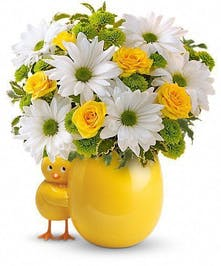 Yellow vase and chickadee accent with yellow and white flowers inside.