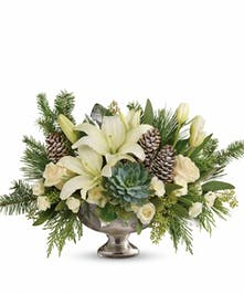 Mercury glass bowl of winter greenery and white blooms.