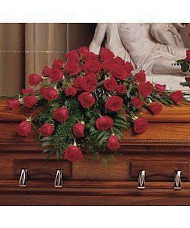 Blooming Red Roses Casket Spray Casket Flowers Hollywood Fl
